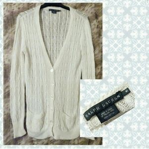 Ralph Lauren White Soft Knit Sweater Cardigan Sz M